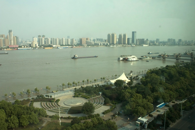 View of the Yangtze River from my room at the Marco Polo Wuhan.