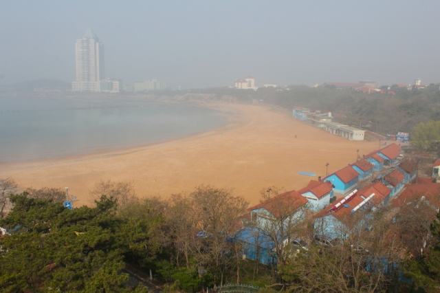 View from the Tower of Granite House - of the beach and Qingdao City beyond.