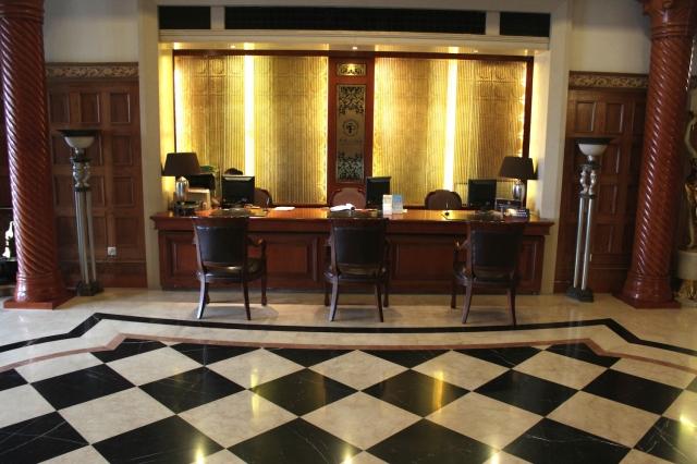 The lobby of the hotel still maintains an Art Nouveau decor.