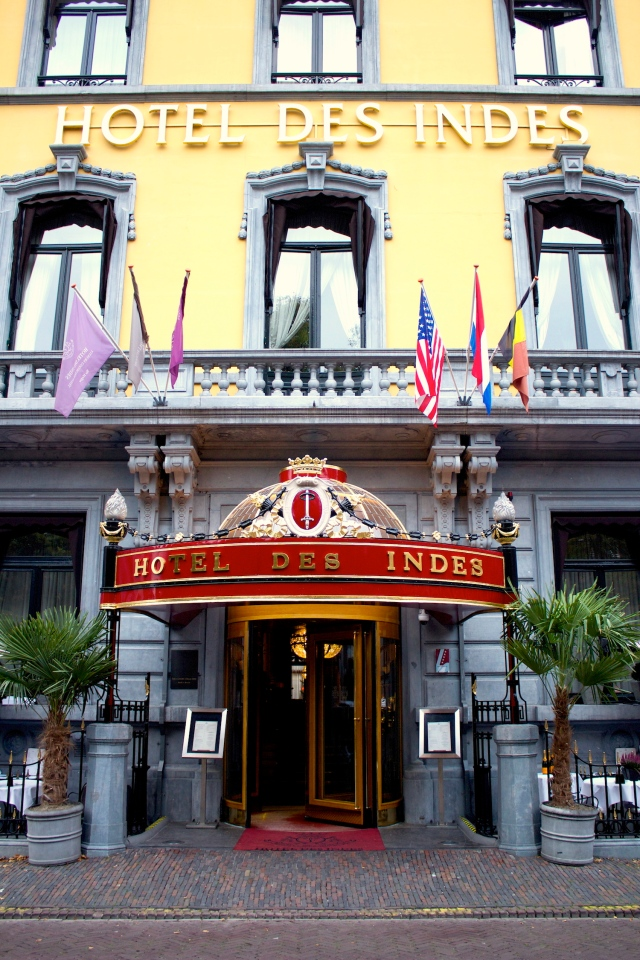 The Hotel Des Indes in The Hague, built in 1881 by King William II to house returning Dutch colonials from the Netherlands East Indies.  Note how the front portico of the hotel still bears the coat of arms of the city of Batavia (today's Jakarta).
