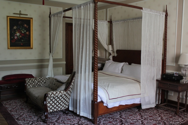 The four poster bed in my room.
