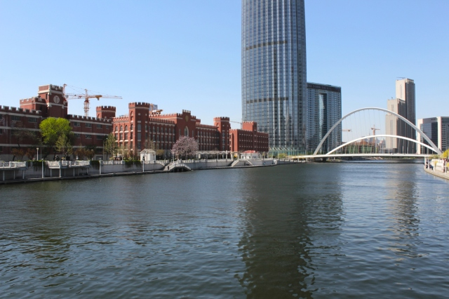 The White River - showing modern Tianjin - a mix of skyscrapers and faux-European architecture.