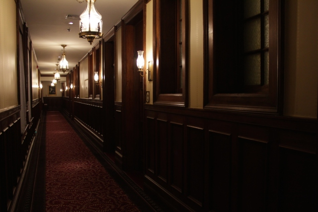 Gothic Victorian corridors in the Historic Wing - all wood panelling and carpeting.
