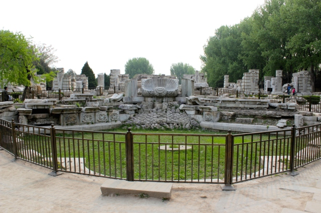 Ruins of the Haiyantang 海晏堂 - the famous water clock and fountain with 12 bronze statues of the Chinese Zodiac.