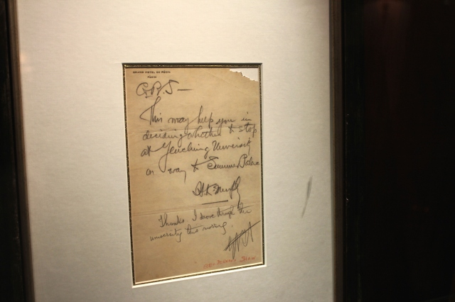 A note Shaw wrote on the Hotel's Letterhead.