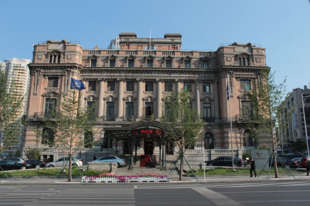 The Imperial Japanese Gothic facade of the Yamato Hotel. Today it is known as the Dalian Hotel and sits on Zhongshan Square.