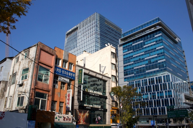 New and old in the Myeongdong area.