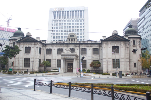 The Bank of Korea Building (1912) is built in a typical Meiji Imperial Architecture.  It resembles the Bank of Japan in Tokyo.