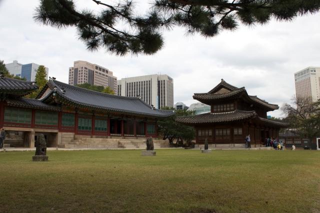 The Deoksugung, juxtaposed against Seoul's modern skyline.