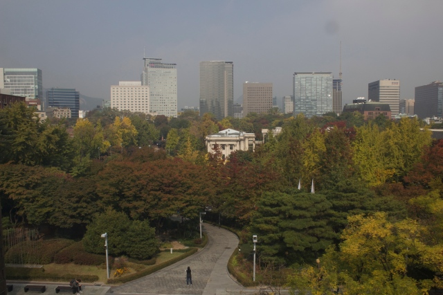 View of the Deoksugung from the Seoul Art Museum, Jeongdong District.