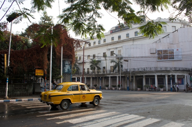 Just so you don't mistake where I was: iconic Calcutta yellow cab, portrait of Rabindranath Tagore, and the former Great Eastern Hotel.