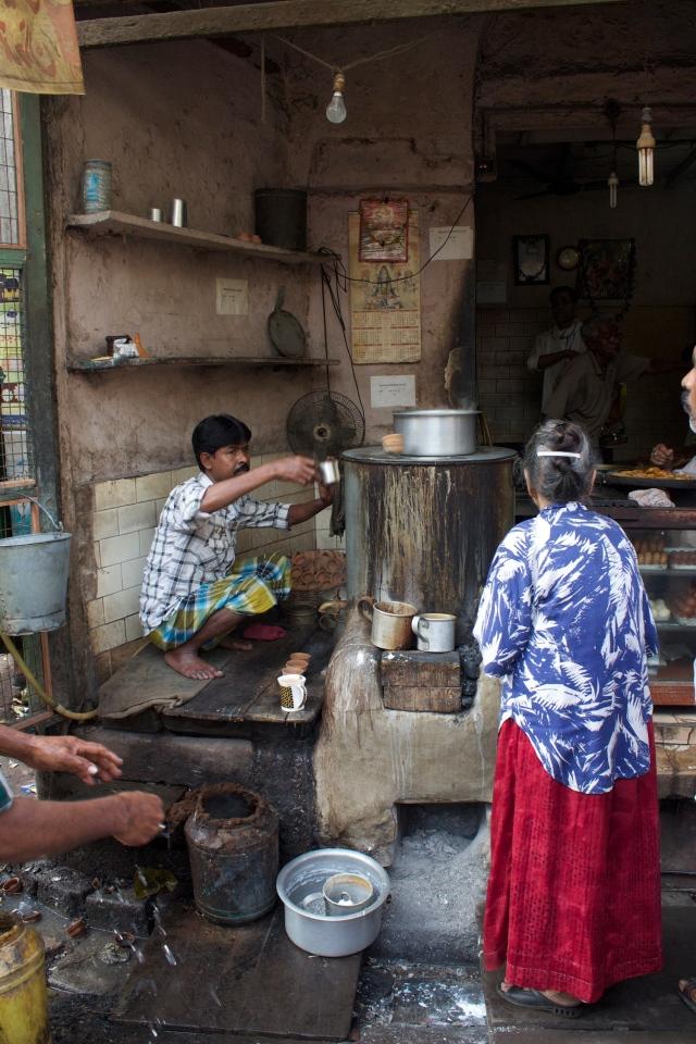 Streetside teh tarik in Bowbazar, Calcutta.