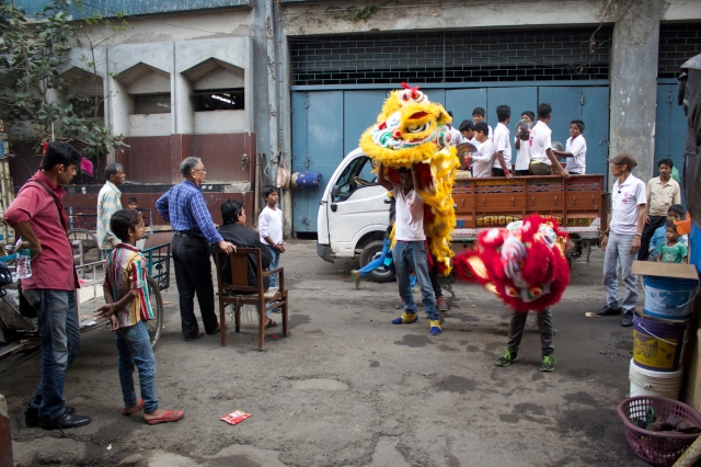 Festive Lion Dance in Calcutta Chinatown.