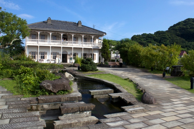 Many of the Treaty Port era European buildings have been gathered up and moved to Glover Gardens - a veritable theme park of historic architecture. This one is the former Mitsubishi second dock house.