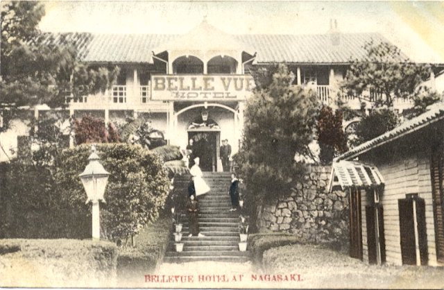 View of the Belle Vue Hotel in the early 1900s.  Note the long verandah out front.