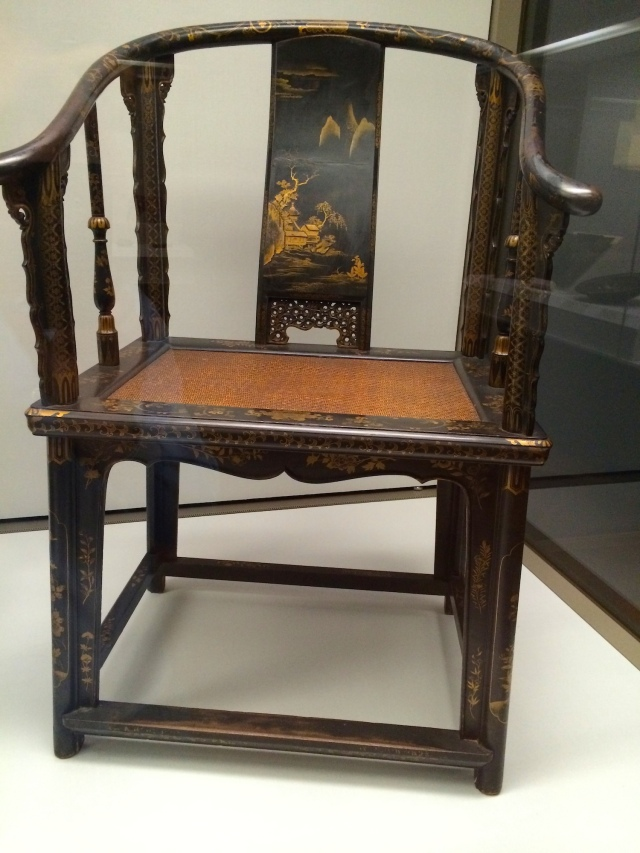 Nanban lacquer chair, possibly early Dutch period (mid to late 1600s).