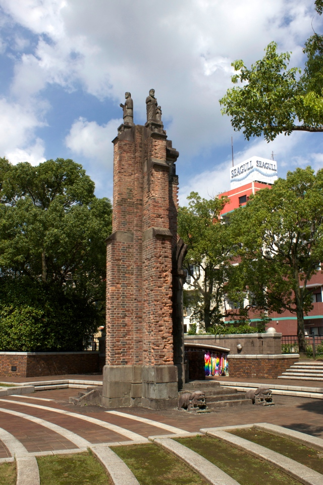 The Ruins of Urakami Cathedral, built in 1925.  The Atomic bomb dropped only 500m away in the village of Urakami and completely demolished it. While the Cathedral itself has been rebuilt, this fragment has been moved to the Peace Park as a reminder of the event.