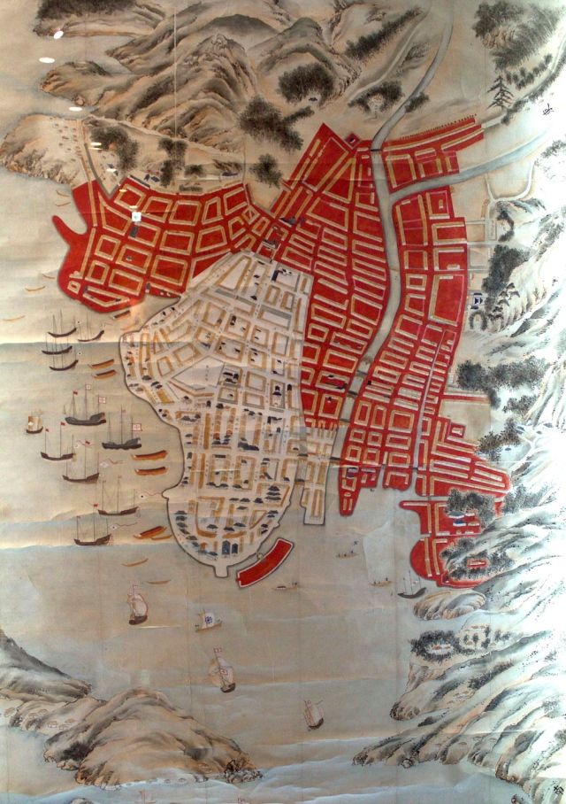 A fuller map of Nagasaki, with Dejima at bottom.