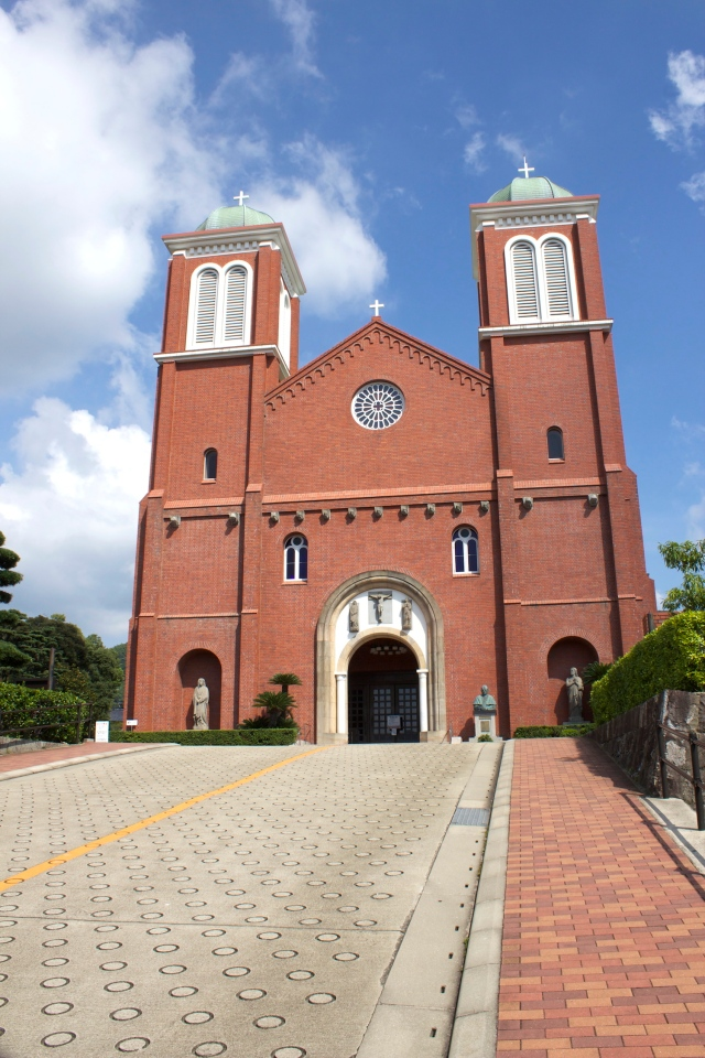 Close-up of the imposing Urakami Cathedral