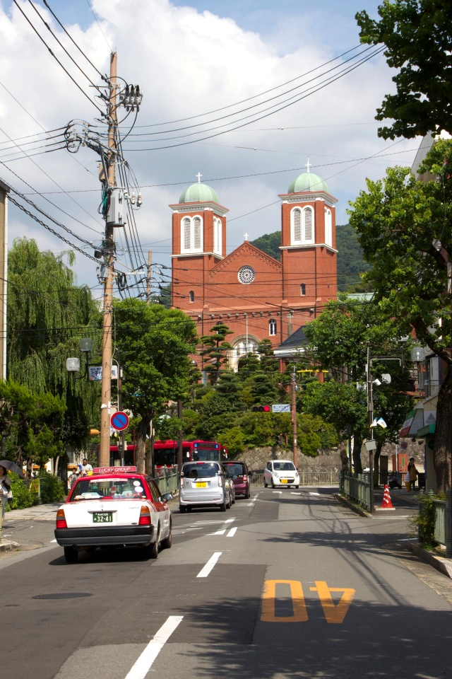 The suburb of Urakami 浦上, with the Cathedral in the distance.