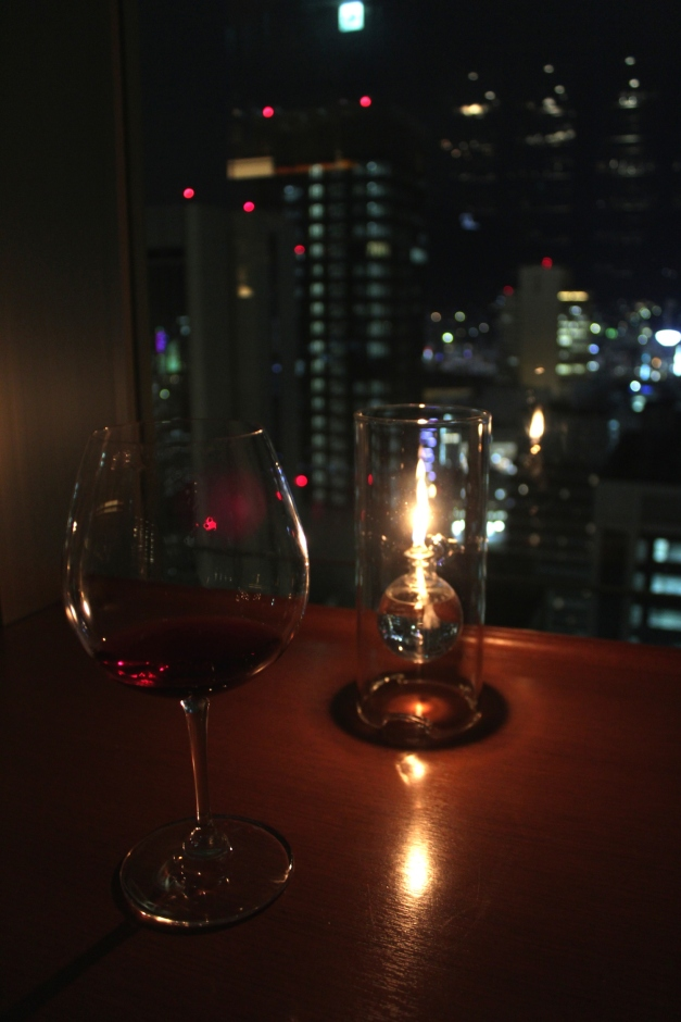 Having a quiet glass of wine at the Bar.