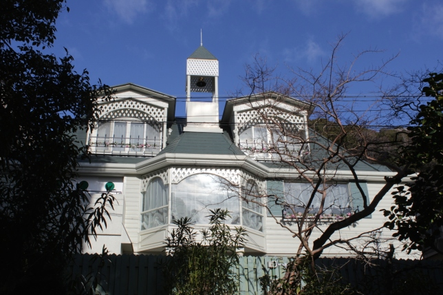 Western style architecture in the form of ijinkan - 異人館 in the Kitano district, nestled in the hills.