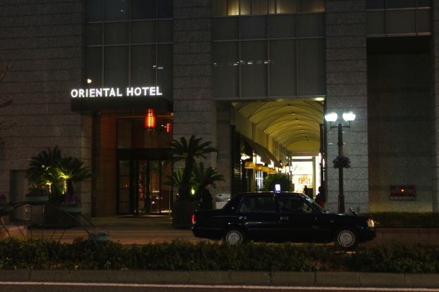 Entrance to the hotel at night.