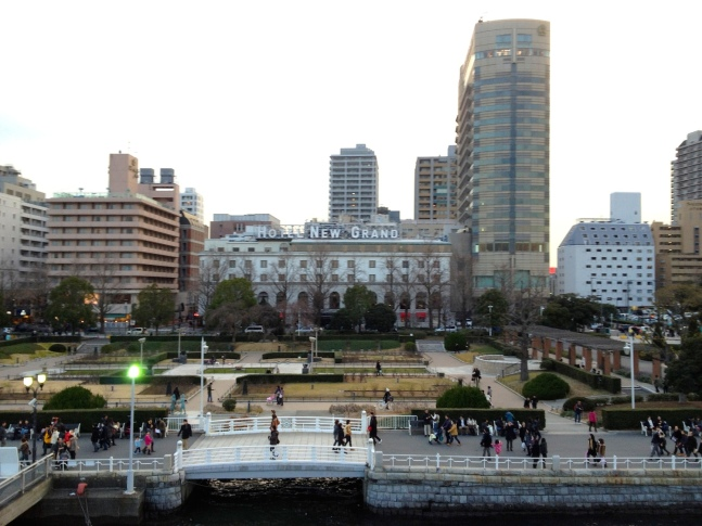 Hotel New Grand and Yamashita Park, as seen from the deck of the Hikawa Maru.
