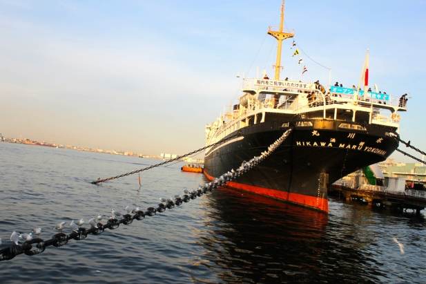 The Hikawa Maru 氷川丸, berthed at Yamashita Park, at the former Yokohama Bund.