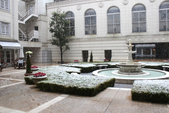 The Courtyard, covered in snow.