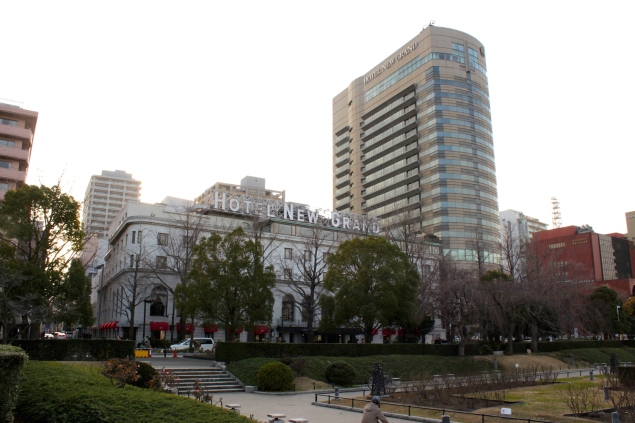 View of Hotel New Grand's original building and Tower Wing, from Yamashita Park.
