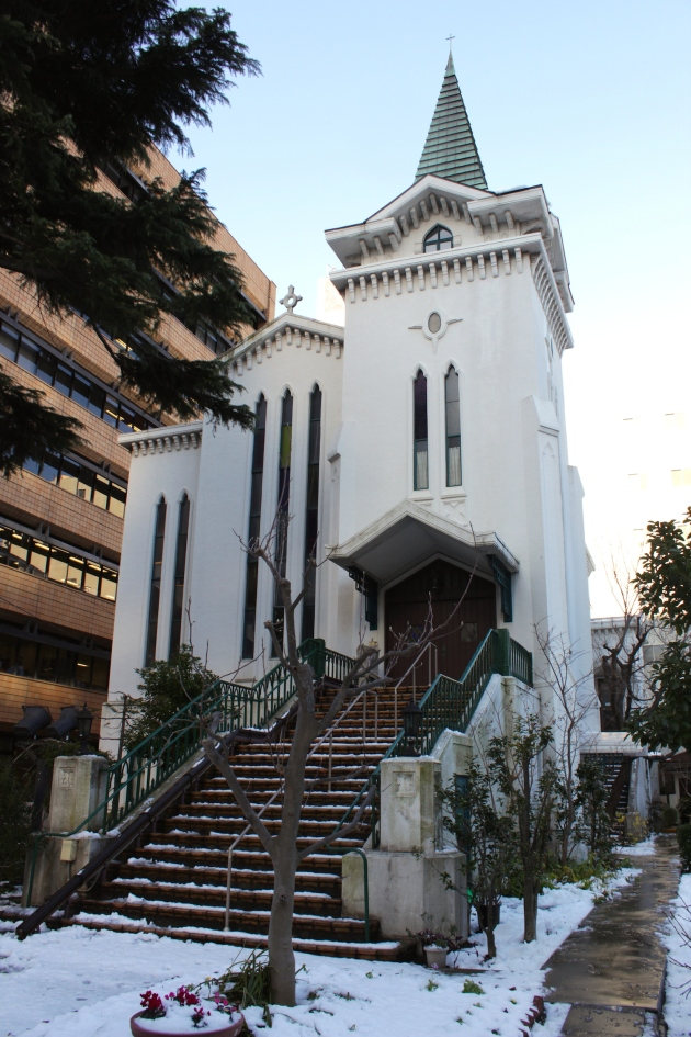 The Yokohama Kaigan Church (1933) is situated adjacent to the former British Consulate.