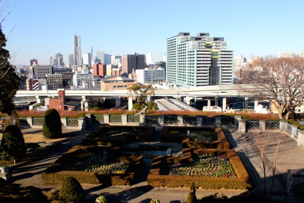 View of the Italian Gardens towards Yokohama city. Here was where the Italian Consulate sat in the Meiji era.