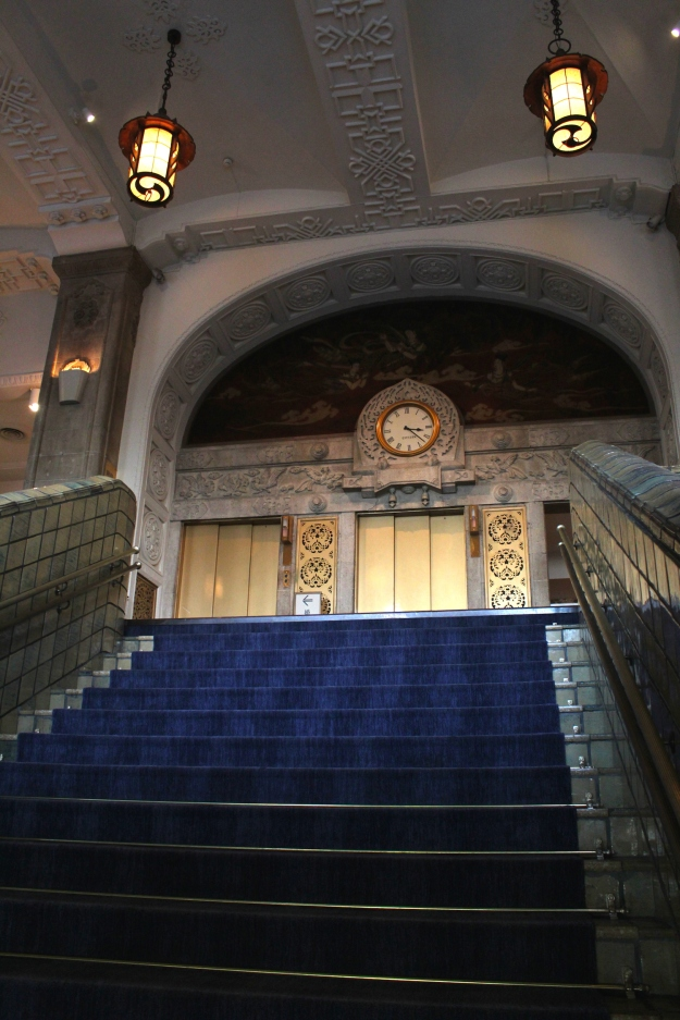 The old stairway leading dramatically up to the former lobby.