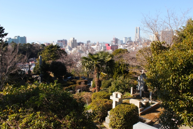 Panoramic view of the Foreign Cemetery and of Yokohama City.