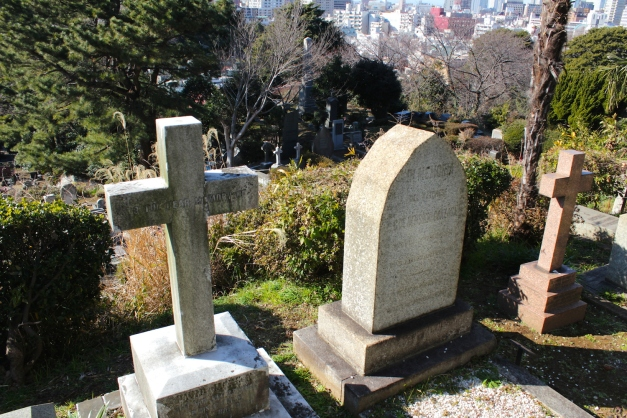 Close-in on some of the graves in the Foreign Cemetery.
