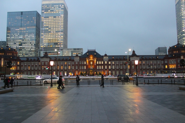 The Tokyo Station Hotel at night.