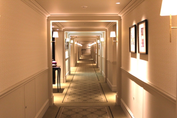 Endless corridors in the hotel.