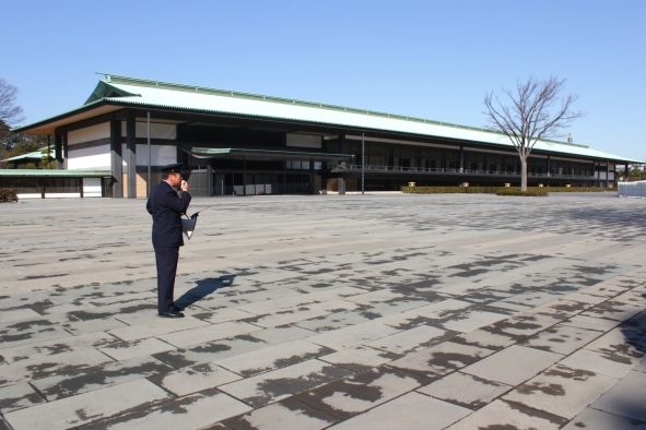View of the Chowaden Reception Hall - and the friendly guide from the Imperial Household Agency.