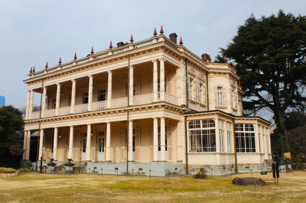 Back view of the Iwasaki Mansion, showing deep verandahs on both floors, inspired, no doubt by European architecture in the treaty ports.