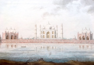 View of the Taj Mahal from the Mehtab Bagh, across the Yamuna River. 1800s Company School watercolour.
