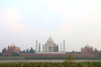 View of the Taj Mahal from the Mehtab Bagh, across the Yamuna River. February 2017.