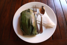 Lampreis is served at the cafe of the Dutch Burgher Union. The dish is cooked in a banana leaf.