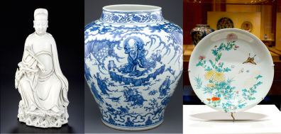 Blanc de Chinem or Dehua ceramics; Blue & White jar; Butterfly and Chrysanthemum Dish. Collection of the Asian Civilisations Museum.