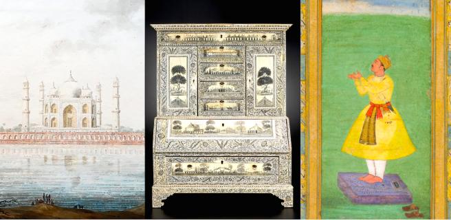 Company School watercolour, Taj Mahal, 18th c; VOC-era ivory secretary, Vizhagapatnam, 18th c; Mughal minature, 18th c. Collection of the Asian Civilisations Museum.