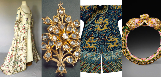 European gown made from Chinese imitation-chintz; Peranakan jewellery; Emperor's robe; Mughal armband. Collection of the Asian Civilisations Museum.