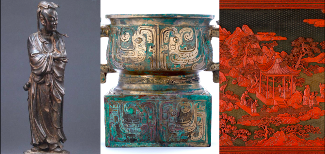 Bronze Lu Dongbin, ritual gui and red lacquer screen. Collection of the Asian Civilisations Museum.