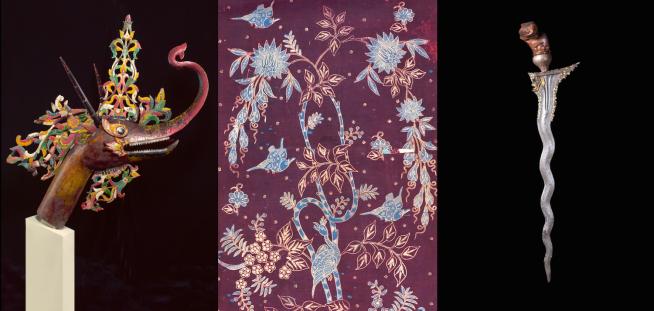 Makara head, batik textile and keris. Collection of the Asian Civilisations Museum.
